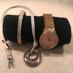 Michael Kors Rose Gold Watch Bracelet & Necklace